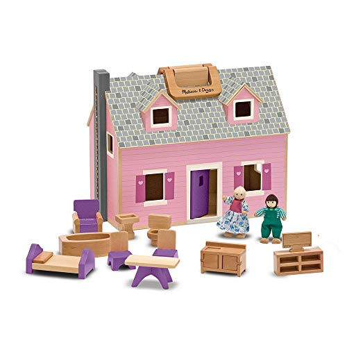 Melissa & Doug- Fold and go Casita de muñecas (13701)