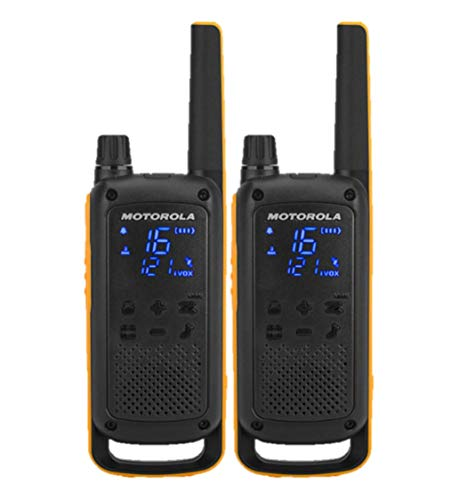 Motorola Talkabout T82 Extrem - Walki-Talkis, Range up to 10 Km, Hidden Screen, LED Flashlight, Black and Yellow color