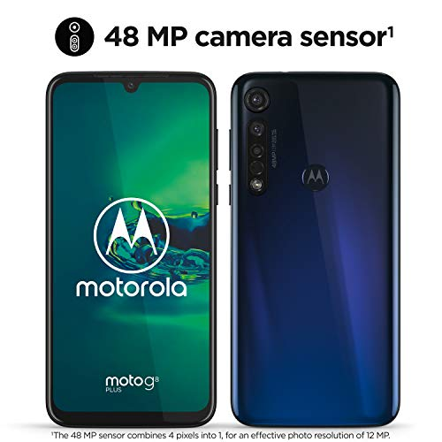 Motorola Moto G8 Plus (6.3 'FHD u-notch screen, 48MP camera, Dolby® stereo speakers, 64GB / 4GB, Android 9.0, Dual SIM Smartphone), Blue