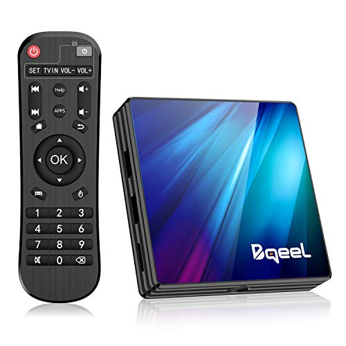 Bqeel Última 9.0 TV Box 【4GB RAM+64GB ROM】 Android TV Box RK3318 Quad-Core 64bit Cortex-A53 Soporte 2k*4K, WiFi 2.4G/5G,BT 4.0 , USB 3.0 Smart TV Box