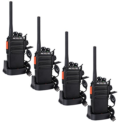 Retevis RT24 Rechargeable Walkie Talkie PMR446 without License 16 Channels CTCSS DCS Professional Walkies with USB Charger and Earphones (Black, 2 Pairs)