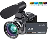 Camera Camcorder, Ansteker 4K Video Camera Kit 16MP 16x digital zoom camera with infrared night vision, remote control, external microphone and wide-angle lens