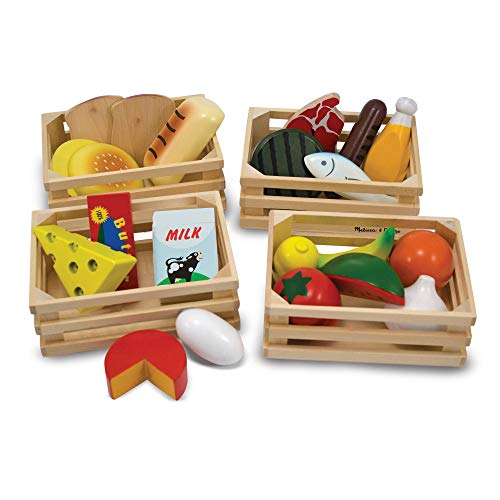 Melissa & Doug Groups Wooden Play Food Comida de Juego de Madera, Multicolor, 3+ (271)