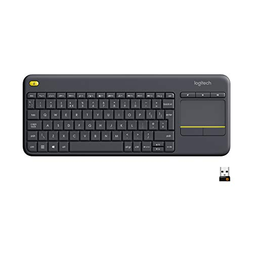 Logitech K400 Plus Teclado Inalámbrico con Touchpad para Televisores Conectados a PC, Teclas Especiales Multi-Media, Windows, Android, Ordenador/Tablet, Disposición QWERTY Español, color Negro