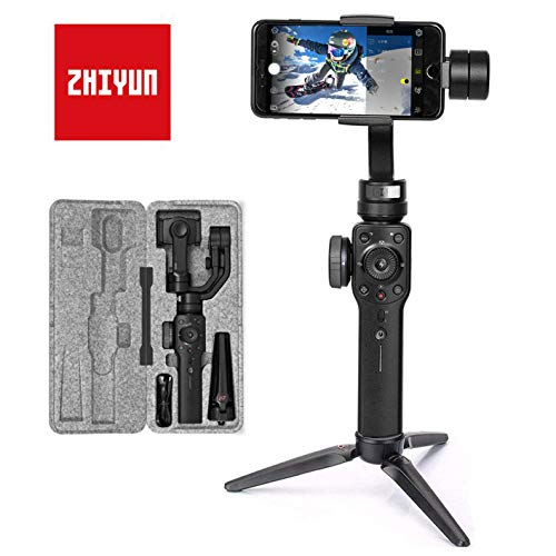 Zhiyun Smooth 4, Gimbal-Movil-Estabilizador 3 Ejes, Gimbal para Smartphone hasta 210g, Gimbal Movil Gimbal para Smartphone y Gopro, Color Negro