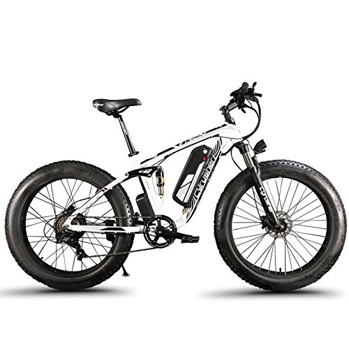 Extrbici XF800 1000W 48V13AH Electric Mountain Bike Full Suspension (Blanco y Negro)