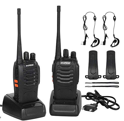 CACAGOO Rechargeable Walkie Talkie 16 Channels 1500mah CTCSS DCS 6KM, UHF Walkie Talkie with Built-in Headset LED Torch (2 PCS)