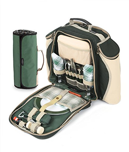 Greenfield Collection Deluxe - Mochila y manta de picnic para dos personas, color verde bosque