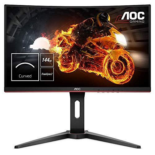 "AOC C24G1 - Monitor gaming curvo sin marcos de 24"" Full HD e-Sports (1920x1080, VA, 1 ms, 144 Hz, 1500R, AMD FreeSync, Ajustable en altura y FlickerFree) Color Negro/Rojo"