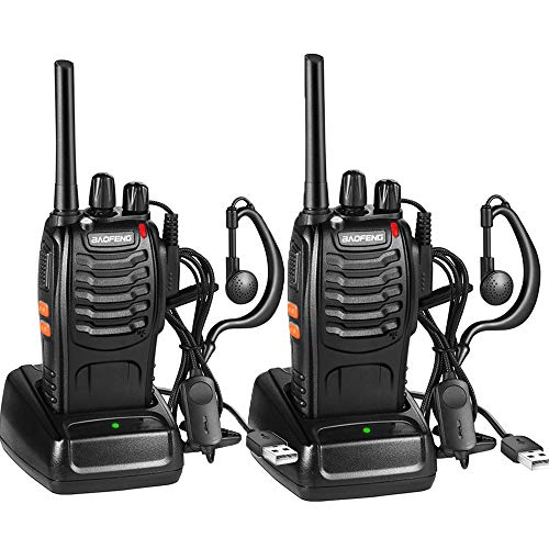 Two-way Rechargeable Walkie Talkie Radio Transceivers 16 Channels 1500mah CTCSS DCS, with Built-in Headset LED Torch (2PCS)